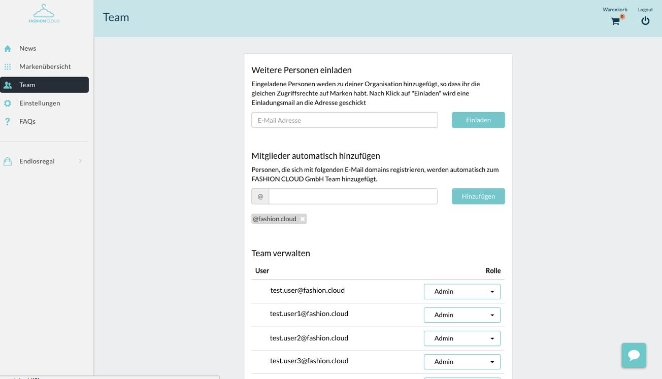 Content Plattform FAQ Menü Team Teamverwaltung Händler