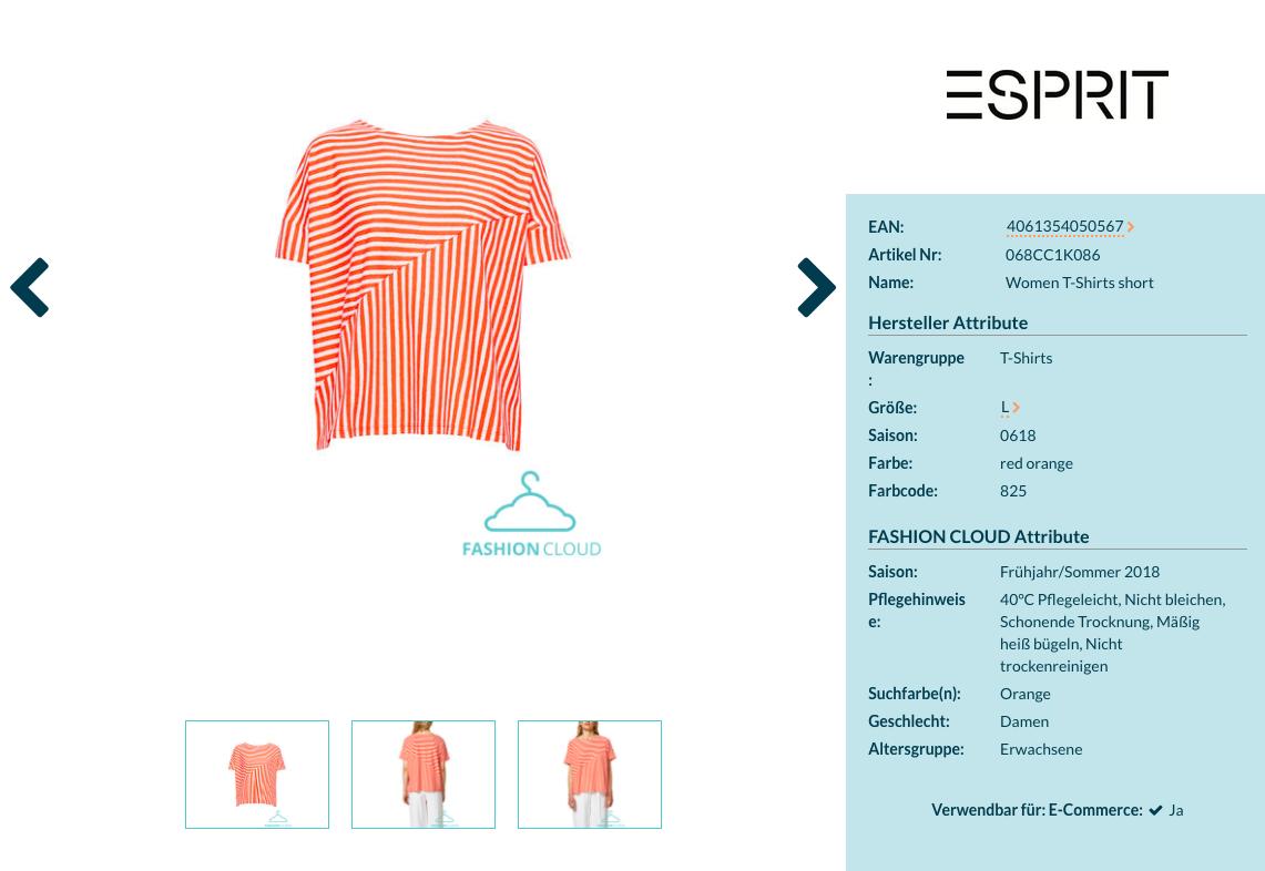 Produktattribute von Esprit