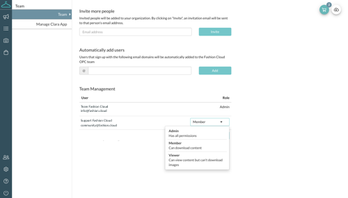 Content Plattform FAQ Menü Teamverwaltung Nutzerrecht Händler